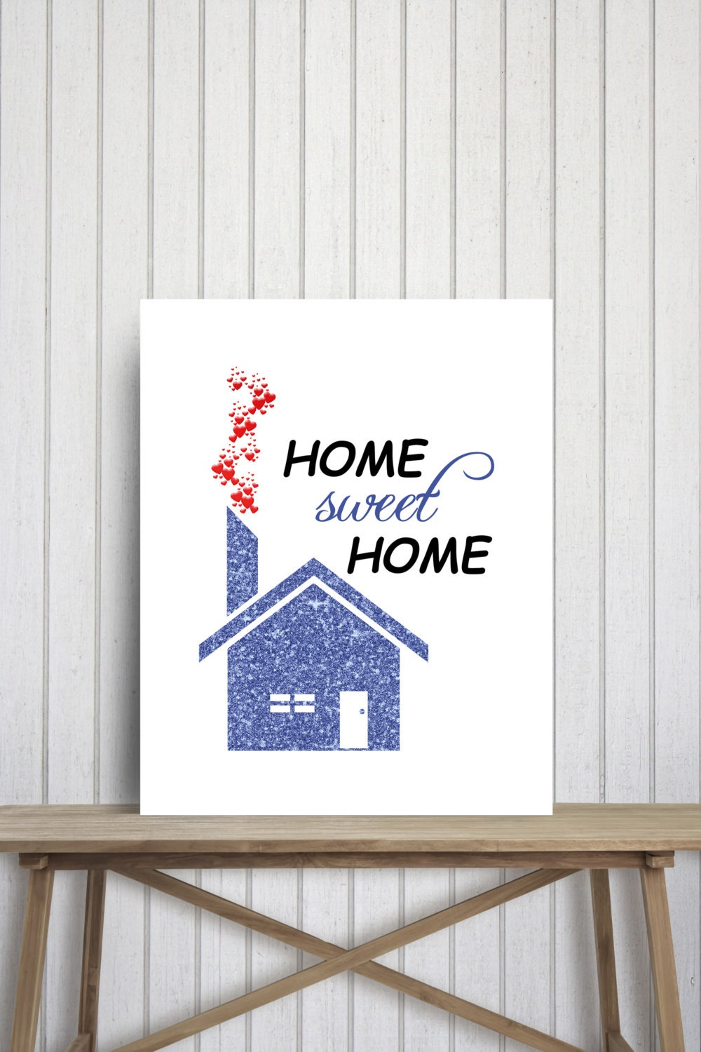 Blue glitter wall decor home sweet home art printable poster Home sweet home wall decor