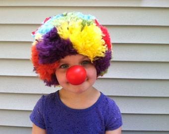 Clown wig, Clown costume wig, Circus themed party, Kids costume, Circus costume, Circus party, Rainbow hair, Rainbow party, Rainbow costume