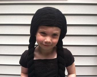 Black pigtail wig, Kids Halloween, Halloween costume, Kids wigs, Halloween wigs, Kids cosplay wig, Costume for kids, Wigs for kids, Yarn wig