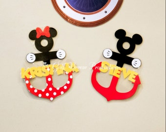 Personalized Mickey or Minnie Anchor Disney Cruise Stateroom Door Magnets