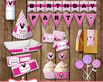 Printables Minnie Mouse Party, Party Package, Decoration Cards, Download print LL-0023-01