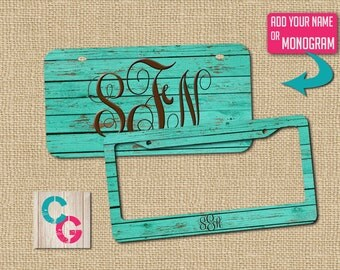 License plate, teal license plate, license plate cover, car art, car tag, front car tag, monogram license, wood license plate, gift for her