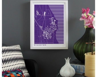 EVANSTON ILLINOIS Map Print - graphic drawing art poster Northwestern University Wildcats