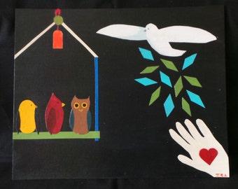SALE A Bird In The Hand - Handmade Handpainted Collage - Dove Owl Birdcage - Children's Nursery Decor