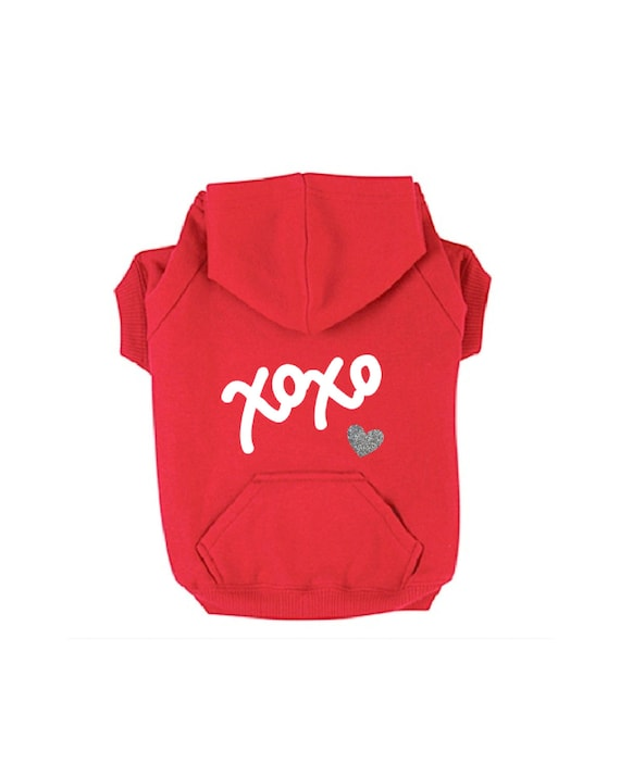 XOXO Dog Hoodie for Valentine's Day. Red Sweatshirt w/ White Text & Silver Glitter Heart. Casual Dog Apparel. Modern Small/Big Dog Clothes.