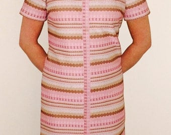 1960s Vintage Dress/Pink and Tan