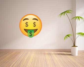 Money Sign Face Emoji Vinyl Wall Decal