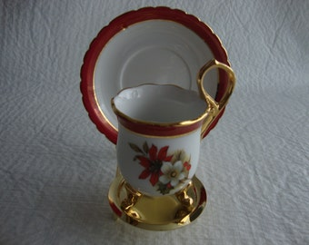 Vintage Dainty Red/White Flowered Tea Cup And Saucer
