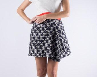 SALE 30% Off, Fitted Dress, Color Block Dress, White Womens Dress, Cowl Neck Dress, Cap Sleeve Dress, Navy Skirt, Pleated Pattern Skirt