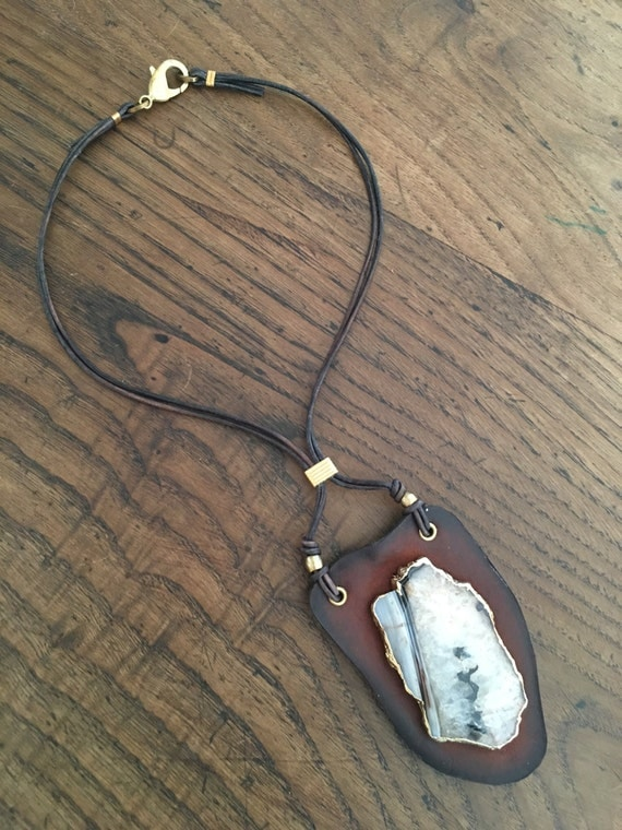 Natural Agate Leather Necklace