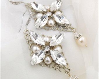 Wedding jewelry - statement rhinestone earrings - crystal bridal earrings - Swarovski crystal - chandelier earrings - Coco earrings