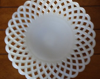 Vintage Milk Glass Reticulated Serving Bowl Centerpiece
