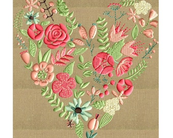 Floral Heart Embroidery Design - EMBROIDERY DESIGN FILE - Instant download - Dst Jef Pes VP3 Exp formats - in 2 sizes