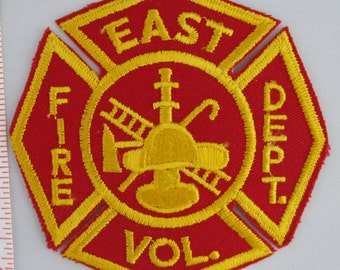 East Vol. Fire Dept. Embroidered Sew On Patch, Embroidery Patch, Paramedic Patch, Applique, Embroidered Patch, Vintage Patch