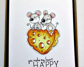 Mouse Card, Friendship Love Card, Hello You, I Like You, Happy Heart, Couples Card, Cute Anniversary Greeting, Sweet Love Card, Stamped