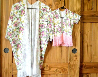 Mommy and TODDLER kimono, mom and daughter kimono, matching swim suit cover up, mom and baby matching kimono, floral kimonos, boho kimonos
