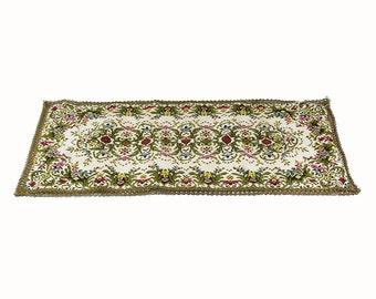 Great Vintage Floral Table Runner Italian Tablecloth Floral Embroidery Table  Runner Embroidery Decor Vintage Textile Vintage Embroidery