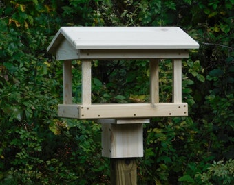 Cedar Fly Through Bird Feeder ,Post Mount  or Pole Mount Bird Feeder,Large Bird Feeder