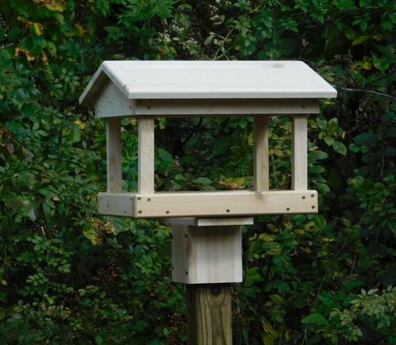 Cedar Fly Through Bird Feeder Post Mount Or Pole Mount Bird
