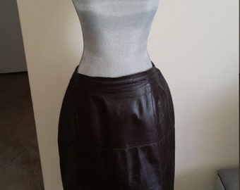 Chocolate Brown Leather Skirt