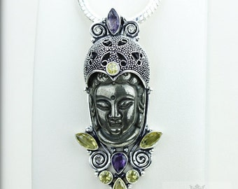Can't Get Better! Pyrite Kwan Yin Guanyin BUDDHA Goddess Face Moon Face 925 S0LID Sterling Silver Pendant + 4MM Chain & Free Shipping p3780