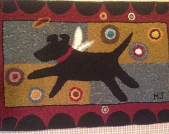 Primitive Hooked Penny Rug Primitive Folk Art Hand Hooked Rug With Black Dog  Angel Primitive Early