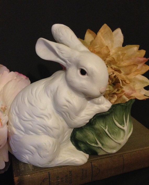 Bunny and cabbage planter spring centerpiece vintage white