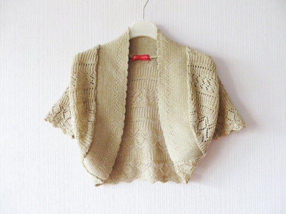 beige crochet bolero jacket creamy brown embroidered cropped. Black Bedroom Furniture Sets. Home Design Ideas