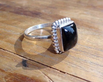 Black Onyx ring - silver onyx ring - 925 sterling silver rings -Black onyx silver ring -Cushion shape Onyx Jewelry -women rings -small rings