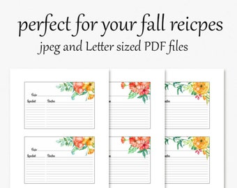 Printable Recipe cards - 4x6 cards to organize your favorite recipes