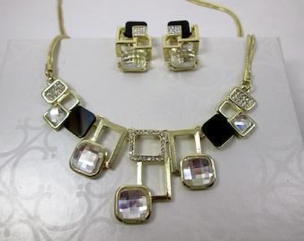 18K Gold Filled Statement Jewelry Set Modern Square Geometric Necklace Geometric Earrings Black Gold Bib Necklace Geometric Stud Earrings
