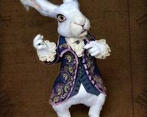 White Rabbit / Alice In Wonderland / - crochet poseable soft sculpture, OOAK stuffed animal, art doll - custom order - Sold