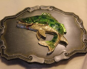 Vintage Fishing  Belt Buckle