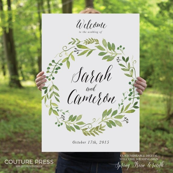 Printable Wedding Welcome Sign Watercolor Rustic Whimsical