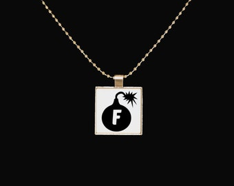 F Bomb necklace, f word pendant, funny jewelry, f bomb, foul mouth, silver pendant, sarcasm, novelty necklace, funny pendant, the f word