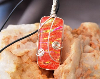 fused glass dichroic pendant, tomato red, wire wrapped,  handmade, kiln fired