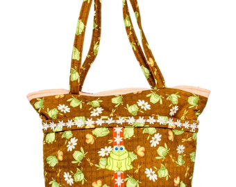 Frog and Daisy Diaper Bag Handmade ONE OF A KIND All Purpose