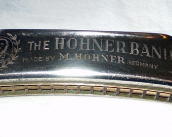 """Vintage """"The Hohner Band"""" Harmonica key of """"G"""". Made by M. Hohner , Germany after 1937 but before 1939"""