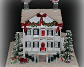 Christmas Glitter House, Southern Plantation Glitter House, Handmade Antebellum House, Paper House, Christmas Putz Style Decoration