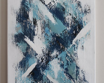 Abstract Painting - 16X20 Canvas - Blue and White Original Contemporary Abstract Art