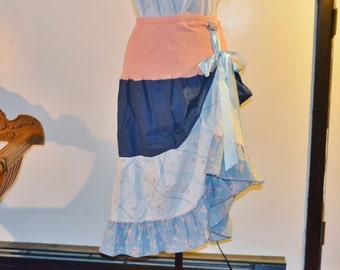 Shabby Chic Bohemian Skirt, Hippie Skirt, Upcycled Skirt, Gypsy Skirt, Prairie Skirt, Boho Skirt, Ready to Ship
