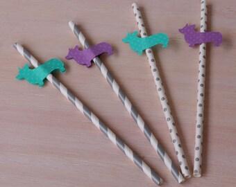 Corgi Drinking Straws, Dog Party Paper Straws, Purple & Seafoam Green Wedding Reception Decor, Bridal Shower Birthday Party Décor