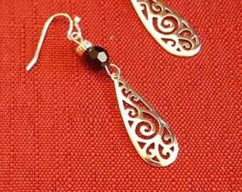 Sterling Silver Earrings with Black Swarovski Crystal