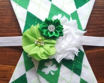 St. Patrick's Day Argyle Leg Warmers w/ Matching Rhinestone Headband