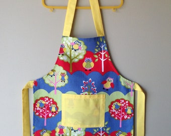 Kids Apron, Owl Apron, Child Apron, Toddler Apron, Jungle Animals Apron, Kitchen Apron, Art Apron, Craft Apron, Animal Apron, Play Apron