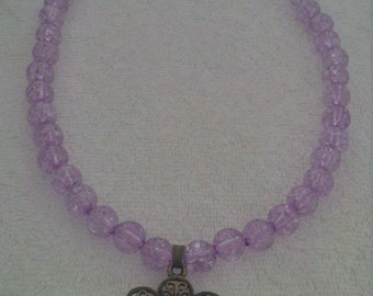 Purple Beaded Glass Dome Flower Pendant Necklace   (#477)