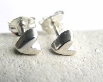 Silver heart studs, sterling silver heart stud ear rings, solid silver studs, silver stud earrings, love heart earrings, sterling silver