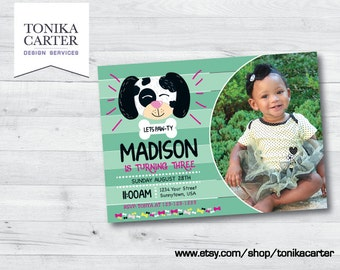 Striped Dalmatian Doggy Birthday Invitation with picture (girl)