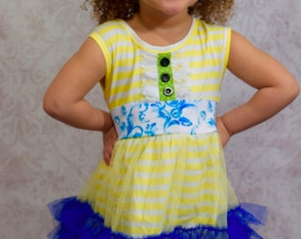 Yellow and blue ruffle boutique outfit