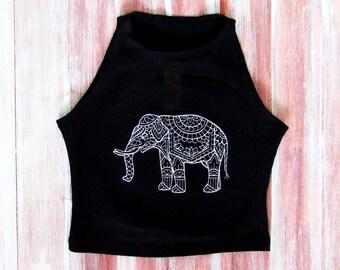 Boho Elephant Crop Top-Festival Clothing-Mandala Elephant-American Apparel